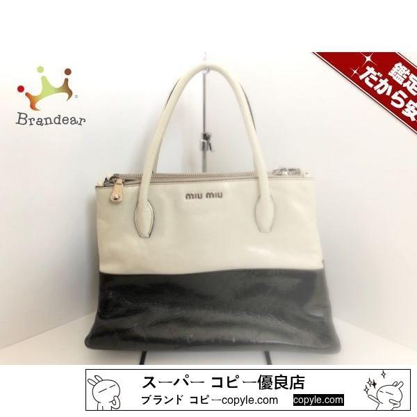 MIUMIU コピー(ミュウミュウ ) ハンドバッグ - RNB941 白×黒 レザー-2