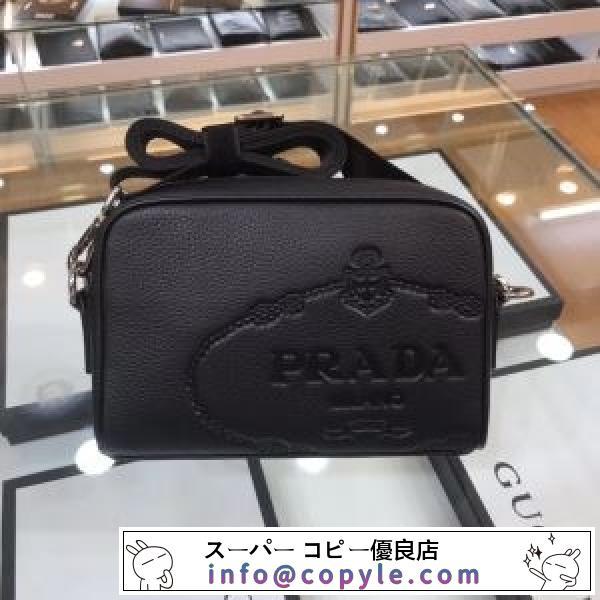 プラダ ショルダーバッグ レザー 印象強いコーデに仕上げ メンズ PRADA コピー ブラック ロゴ入り おすすめ 完売必至-2