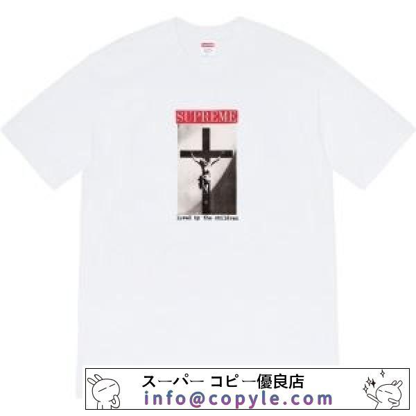 多色可選  SUPREME シックで都会的な印象に仕上げる シュプリーム シンプルで柔らかなスタイル 半袖Tシャツ-2