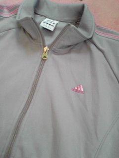 adidas コピー女性用ジャージ上グレー×ピンクLサイズ灰色桃色Lサイズ程度良好即決-3