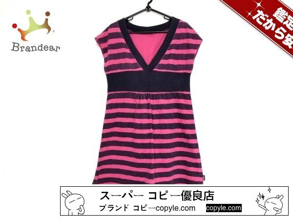 X-girl スーパー コピー(エックスガール スーパー コピー) ワンピースS レディース ピンク×パープル×ネイビー ボーダー-3