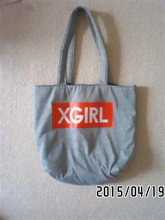 非売品付録・X-girl コピーコラボ・ロゴ&アップル柄トートバッグ-3