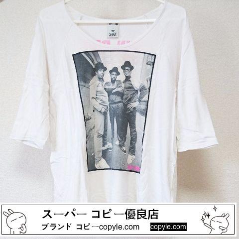 X-girl エックスガール コピー ダボッと着るタイプの七分袖Tシャツ 白ホワイト 写真フォト柄-3