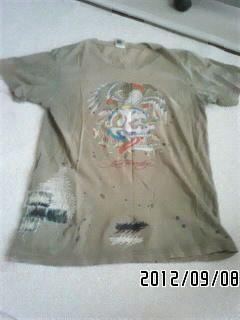 エドハーディー スーパーコピー・ロゴ&タトゥグラフィックダメージTシャツ-3