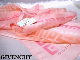 新品タグ付◆ジバンシイ◆ シルク100%ロゴスカーフ 淡いピンク系-3