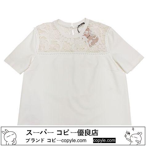 新品ミュウミュウ スーパー コピーmiu miuレース半袖スウェット(カットソー)白 #L-3