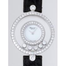 ショパールスーパーコピー Chopard ハッピーダイヤモンド 20/3957-1001 ラウンド ブラック革 5PD ベゼル2重ダイヤ ホワイト-1