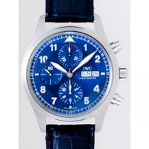 IWC インターナショナルウォッチカンパニー パイロットウォッチ zIW371712 クロノ・オートマティック SS ローレウス 世界限定2500本 ブルー-1