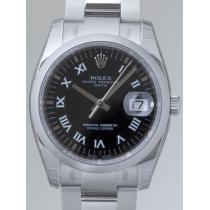 ロレックススーパーコピー ROLEX パーペチュアル デイト 115200 ブラックプリントローマ-1