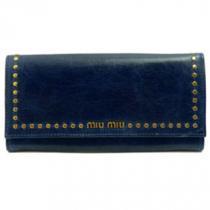 ミュウミュウスーパーコピー MIUMIU 長財布 二つ折りフラップ スタッズ ハートチャーム レザー ダークブルー BLUETTE 5M1109 VITELLO SHINE-1