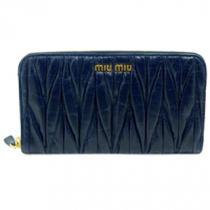 ミュウミュウスーパーコピー MIUMIU 長財布 ラウンドファスナー プリーツレザー/マテラッセ ダークブルー BLUETTE 5M0506 MATELASSE LUX-1