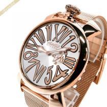 Gaga Milano スーパーコピー ガガミラノ コピー 腕時計 マヌアーレスリム MANUALE SLIM 46mm シルバー×ローズゴールド gaga yheRGLll-1