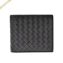 Bottega Veneta  ボッテガヴェネタ コピー 二つ折り財布 イントレチャート 革編み カーフレザー ブラック Bottega XqbVgOGW-1