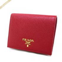 Prada スーパーコピー プラダ  二つ折り財布 レザー ミニ財布 レッド 1MV204 QWA F068Z-1