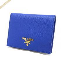 Prada コピー プラダ スーパーコピー 二つ折り財布 レザー ミニ財布 ブルー 1MV204 QWA F0013-1