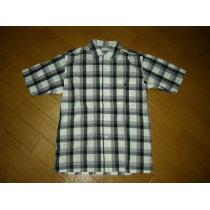 APEエイプ半袖チェックシャツS胸ロゴ猿ワッペン-1