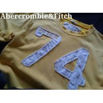 【Abercrombie&Fitch コピー】アバクロ Vintage Destroy アップリケTシャツ L/イエロー-1