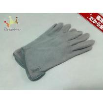 YvesSaintLAUREN コピーt コピー(イヴサンローラン コピー) 手袋 レディース グレー ウール×レザー-1