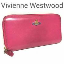 コピー Vivienne Westwood コピー ラウンドZIP レザー 長財布 ピンク-1