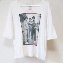X-girl エックスガール コピー ダボッと着るタイプの七分袖Tシャツ 白ホワイト 写真フォト柄-1