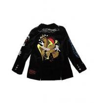 新品EdHardy エドハーディー ★限定イーグル刺繍★ベロアテーラードジャケットLブラック-1