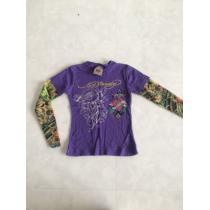 Ed キッズ size4 袖タトゥー風 Tシャツ パープル-1