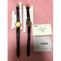 CASIO スーパー コピーチープカシオ スーパーコピー腕時計2個セット革ベルトブラック黒ブラウン茶-1