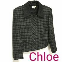 コピー良品 chloe スーパー コピー クロエ スーパー コピー ジャケット チェック 黒 グレー-1