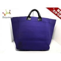コムデギャルソン スーパーコピー トートバッグ パープル×黒 化学繊維×レザー-1