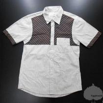 YGG★COMME des GARCONS スーパーコピー★半袖シャツ ストライプ 白茶-1
