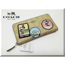 Coach スーパー コピー☆ミッキーコラボ ラウンドファスナー長財布ワッペン-1