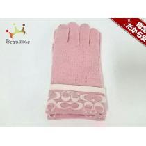 Coach コピー(コーチ スーパー コピー) 手袋 レディース美品  ピンク×白 ウール-1