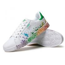 メンズ レディーズカラフル レインボー 靴 白緑-1