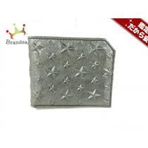 JIMMY Choo スーパー コピー(ジミーチュウ スーパー コピー) 2つ折り財布美品  アルバニー シルバー スター レザー-1
