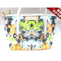 ジミーチュウ コピー トートバッグ - 白×ネイビー×マルチ 花柄 キャンバス×レザー-1
