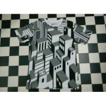 DC 半袖Tシャツ サイズL R5086 黒白灰 ビル柄-1