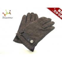 DKNY コピー(ダナキャラン スーパー コピー) 手袋 レディース ダークブラウン×ブラウン レザー×ウール-1