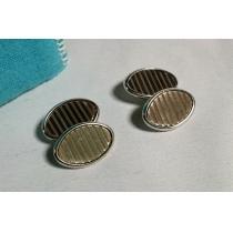 コピー美レア スーパーコピー Tiffanyティファニー コピー ダブルオーバルチェーンカフス SV925×ゴールドボタン-1