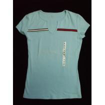 セール送込TommyHILFIGER スーパーコピートミーヒルフィガー ★ロゴTシャツ水色Sライトブルー-1