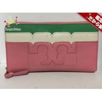 TORY Burch スーパーコピー(トリーバーチ スーパーコピー) 長財布 ピンク×白×グリーン ラウンドファスナー レザー-1