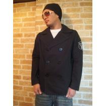 【TOMMY】ワッペン付き立ち襟コットンPコート黒M♪トミーピーコート-1