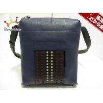 バリー ショルダーバッグ美品  バウマス/BAUMAS P 6214229 ブルー×黒 レザー-1