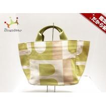 BALLY コピー(バリー) ハンドバッグ ライトグリーン×白×ベージュ キャンバス-1