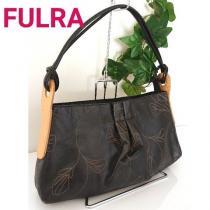 Fulra レザー ワンショルダーバッグ ハンドバッグ 黒 ベージュ-1