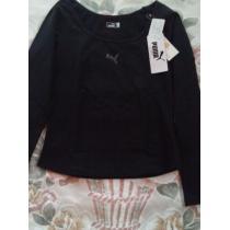 黒のラインストーンプーマ マークの長袖-1