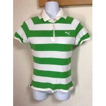 ★PUMA  白×グリーンボーダー スキッパーシャツ  M★-1