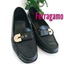 Ferragamo スーパー コピー ガンチーニ ローファー パンプス モカシン 革靴 黒-1