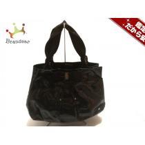サルバトーレフェラガモ スーパーコピー ハンドバッグ ヴァラ 黒 エナメル(レザー)×化学繊維-1