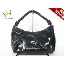 サルバトーレフェラガモ スーパー コピー ハンドバッグ ガンチーニ 黒 編み込みハンドル-1