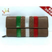 ボッテガヴェネタ コピー 長財布 - 150509 ブラウン×マルチ レザー×ベロア-1